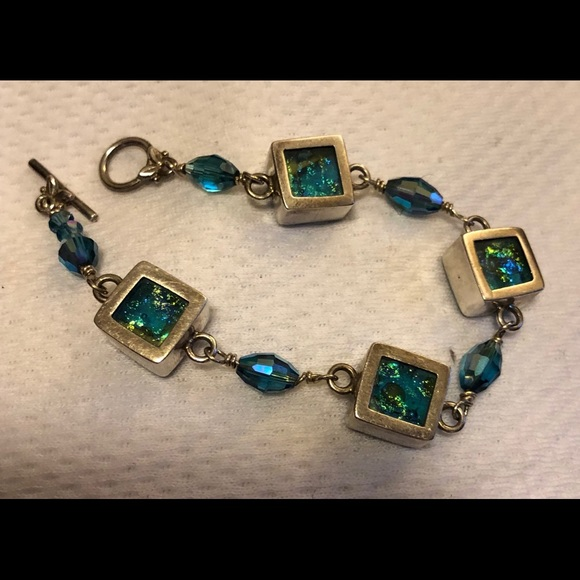 Jewelry - Turquoise/teal sterling dichroic glass bracelet